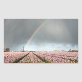 Rainbow over hyacinths and a windmill in Holland Sticker