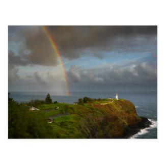 Rainbow over lighthouse on Kauai postcard
