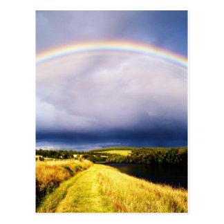 Rainbow Over River Dee Postcard