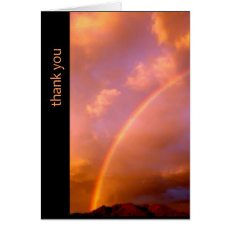 rainbow over the ortiz - new mexico thank you card