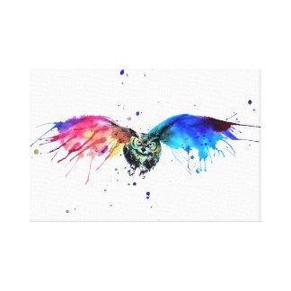 Rainbow Owl Canvas