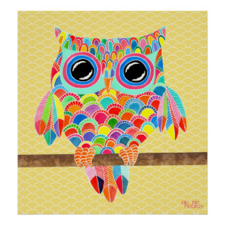Rainbow Owl Wall Art Girls Room Poster