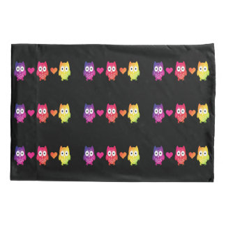 Rainbow Owls And Hearts Pillow Case Pillowcase
