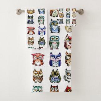 Rainbow owls watercolor bath towel set