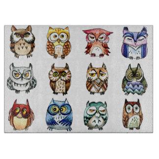 Rainbow owls  watercolor boards
