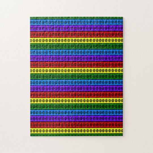 Rainbow Pagan Pentacles Jigsaw Puzzle