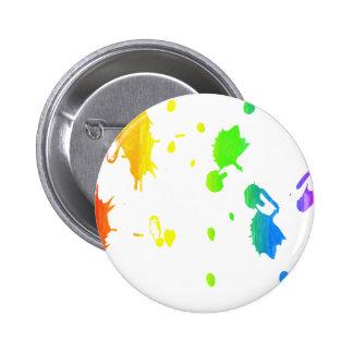 Rainbow paint-splatter 2 inch round button
