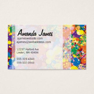 Rainbow Paint Splatter Business Card
