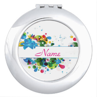 Rainbow Paint Splatter Personalized Compact Mirror