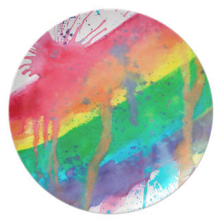 Rainbow Paint Splatter Plate