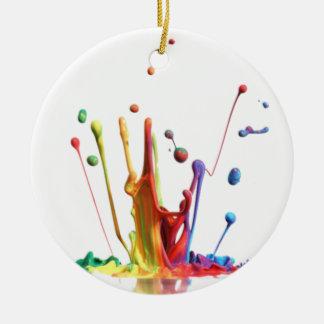 Rainbow Paint Splatter Round Ceramic Ornament