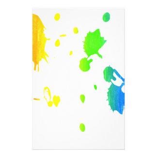 Rainbow paint-splatter stationery