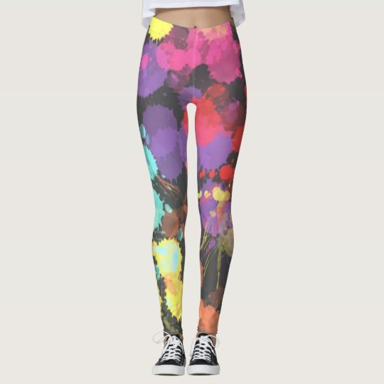 Rainbow Paint Splatters Abstract Patterned Leggings