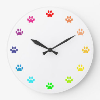 Rainbow Painted Paw Prints as Numbers Large Clock