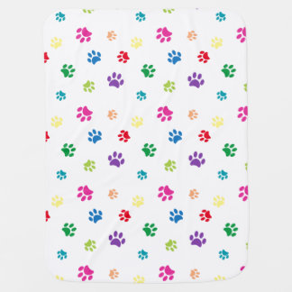 Rainbow Painted Paw Prints Baby Blanket