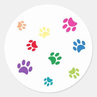 Rainbow Painted Paw Prints Classic Round Sticker