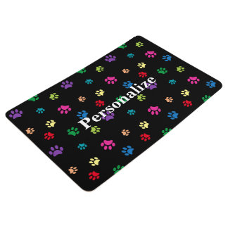 Rainbow Painted Paw Prints (dark) Floor Mat
