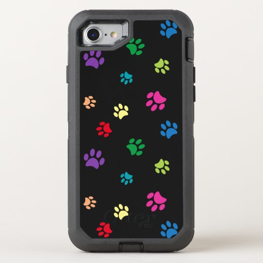 Rainbow Painted Paw Prints (dark) OtterBox Defender iPhone 7 Case