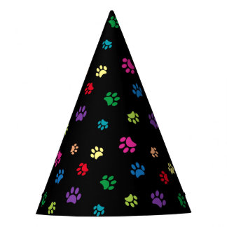 Rainbow Painted Paw Prints (dark) Party Hat