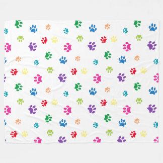 Rainbow Painted Paw Prints Fleece Blanket