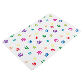 Rainbow Painted Paw Prints Floor Mat