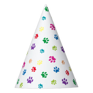 Rainbow Painted Paw Prints Party Hat