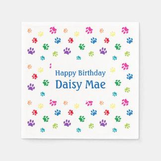 Rainbow Painted Paw Prints Pet Birthday Disposable Napkin