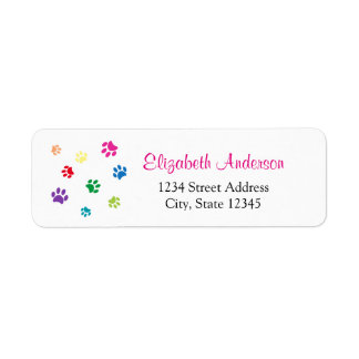 Rainbow Painted Paw Prints Return Address Label