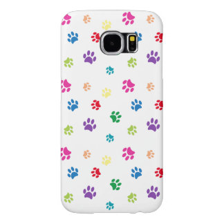 Rainbow Painted Paw Prints Samsung Galaxy S6 Cases