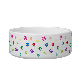 Rainbow Painted Paw Prints Small Bowl
