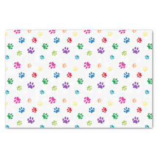 Rainbow Painted Paw Prints Tissue Paper