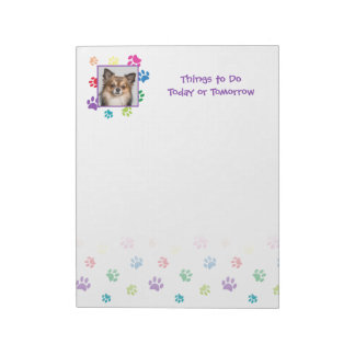 Rainbow Painted Paw Prints with Photo Insert Notepad