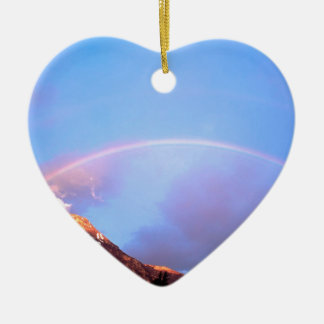 Rainbow Painting The Peaks Alberta Canada Ceramic Heart Ornament