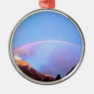 Rainbow Painting The Peaks Alberta Canada Silver-Colored Round Ornament