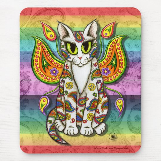 Rainbow Paisley Fairy Cat Fantasy Art Mousepad