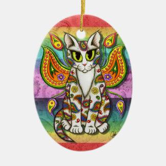 Rainbow Paisley Fairy Cat Fantasy Art Ornament