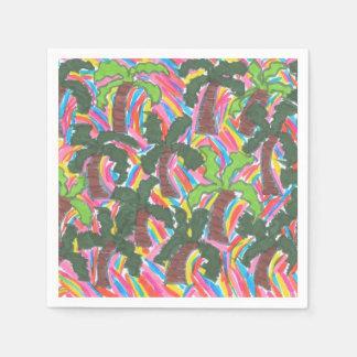 Rainbow Palm Tree Party Paper Napkins