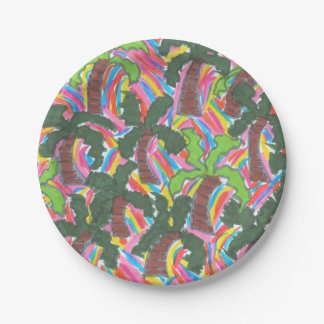 Rainbow Palm Tree Party Paper Plates