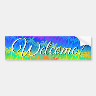 Rainbow palm trees bumper sticker