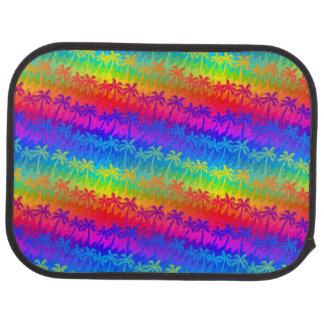 Rainbow palm trees car mat
