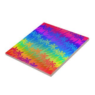 Rainbow palm trees ceramic tiles