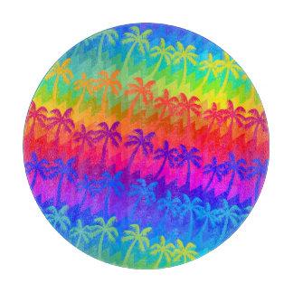 Rainbow palm trees cutting board