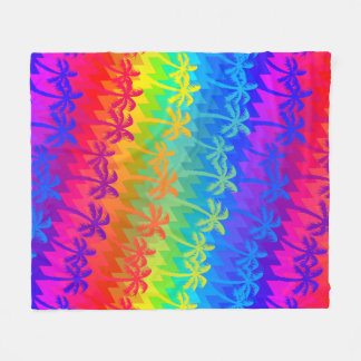 Rainbow palm trees fleece blanket