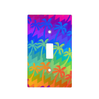 Rainbow palm trees light switch cover