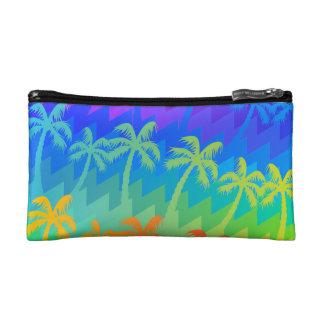 Rainbow palm trees makeup bag