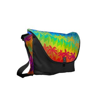 Rainbow palm trees messenger bags