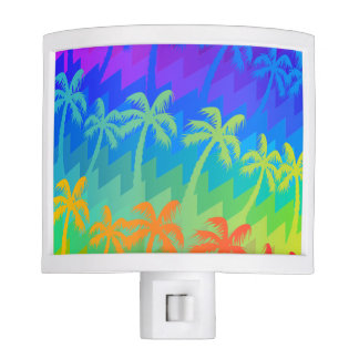 Rainbow palm trees night lite