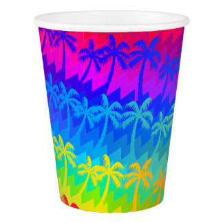 Rainbow palm trees paper cup