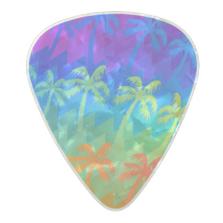 Rainbow palm trees pearl celluloid guitar pick
