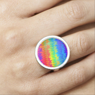 Rainbow palm trees photo rings